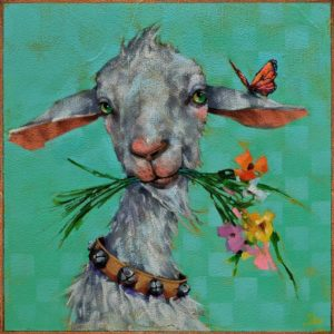 """SOLD """"Tinkerbell,"""" by Angie Rees 10 x 10 - acrylic $675 (unframed panel with 1 1/2"""" edges)"""