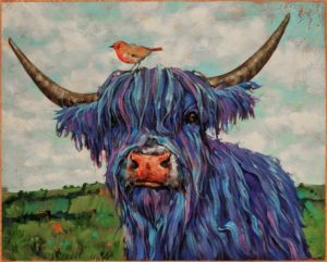 """""""True Blue Friends,"""" by Angie Rees 16 x 20 - acrylic $1475 (unframed panel with 1 1/2"""" edges)"""