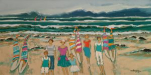 """SOLD """"The Weekend on the Beach,"""" by Claudette Castonguay 15 x 30 - acrylic $1100 Unframed"""