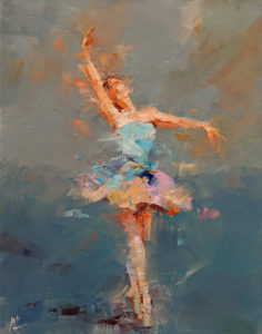 """SOLD """"Dancing with Life 1,"""" by William Liao 11 x 14 - oil $950 Unframed"""
