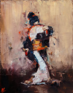 """SOLD """"Dancing with Life 4,"""" by William Liao 11 x 14 - oil $950 Unframed"""