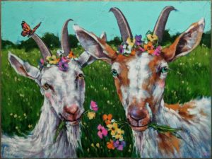 """""""The Ladies' Auxiliary Luncheon,"""" by Angie Rees 12 x 16 - acrylic $1075 (unframed panel with 1 1/2"""" edges)"""