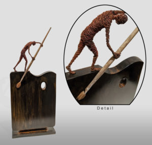 """""""Voyage,"""" by Janis Woode Wrapped copper wire, plate steel, paint brush 21"""" (H) x 9"""" (L) x 2 1/2"""" (W) $3300"""