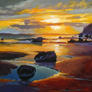 "SOLD ""Golden Light (White Rock, B.C.)"" by Mike Svob 24 x 24 - acrylic $3625 (thick canvas wrap)"