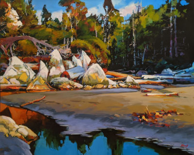 """Great Bear Tidal Garden (Calvert Island, B.C.)"" by Mike Svob 24 x 30 - acrylic $4560 Unframed"