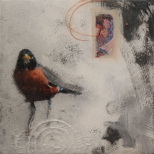 """SOLD """"A Simple Pleasure,"""" by Nikol Haskova 6 x 6 – mixed media, high-gloss finish $400 (unframed panel with thick edges)"""