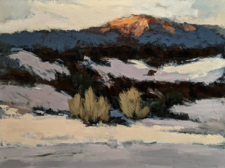 """SOLD """"Soleil couchant, Mont Ste-Anne,"""" by Robert P. Roy (Setting Sun, Mt. Ste-Anne) 36 x 48 - acrylic $3300 Unframed"""