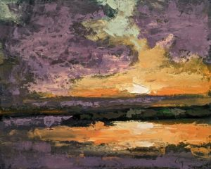 """""""Soleil couchant sur le lac No. 1,"""" by Robert P. Roy (Sun Setting Over the Lake No. 1) 16 x 20 - oil $1100 Unframed"""