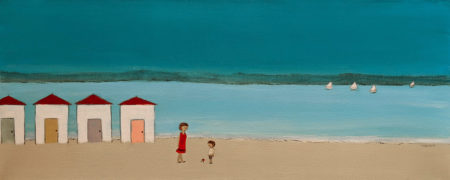"""SOLD """"Turquoise,"""" by Louise Lauzon 12 x 30 - acrylic $840 Unframed"""