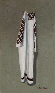 """SOLD """"How old is this dress?"""" by Peter Shostak 6 x 10 - oil $1120 Unframed"""