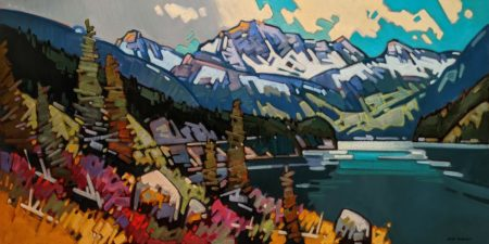 """SOLD """"Duffey Lake Patterns,"""" by Cameron Bird 36 x 72 - oil $8580 (thick canvas wrap)"""