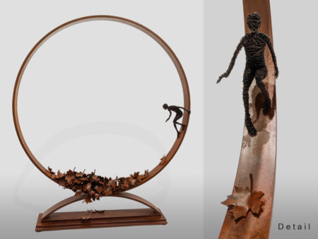 """""""September,"""" by Janis Woode Wrapped copper wire, plate steel 25"""" (H) x 21 1/2"""" (L) x 4"""" (W) $3900"""
