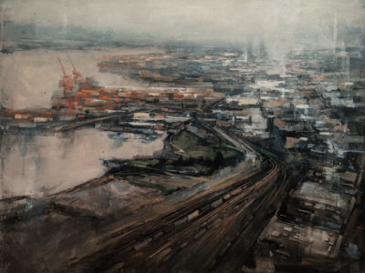 """""""Harbour in the Rain,"""" by William Liao 30 x 40 - acrylic $3980 (thick canvas wrap)"""